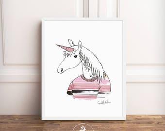 Unicorn, Instant Download, printable poster, Scandinavian art, nursery art, unicorn art, hipster art, animals in clothes, girls room
