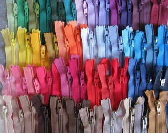 8 inch YKK  Zippers - Set of 24 pcs - 24 colors Random Mixed