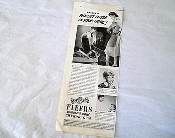Fleer Ad, Fleer Gum Ad, Fleer Dubble Bubble, Gum Ad, Fleer Co, Frank Fleer, Kids Room Decor, Boys, Retro Ad, Vintage Gum Ad, Chewing Gum Ad