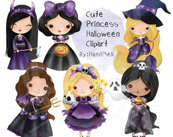 Cute Princess Halloween clipart instant download PNG file - 300 dpi