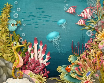 Digital Scrapbooking Kit - Under The Sea - 16 Papers - 100 Plus Elements -5.50