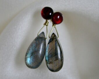 Garnet Studs Gold Earrings Labradorite Earrings Labradorite Gold