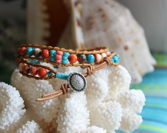 Leather Double Wrap Colorful Beaded Bracelet