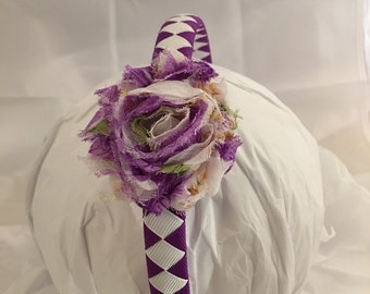 Headband - Purple Flower Headband - Girl Headband - Gift for girl- headband- Purple Headband- purple flower- hair accessory- purple white