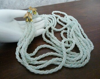 Pale Aqua Five Stranded Beaded Necklace
