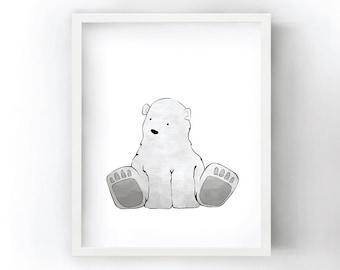 Polar Bear Nursery Art Print - Arctic Animal Wall Art for Kids Room, Polar Bear Print, White Nursery