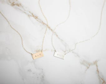 Skinny Rectangle Necklace • Rectangle Necklace • Rectangle Charm • Bar Necklace • Personalized Name Bar • Stamped Bar Necklace • Initial Bar