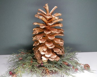 """7 1/2"""" Natural Long Leaf Pine Cone Hand Painted Metallic Gold Eco Craft Ecofriendly Ornamental Decoration Wedding Holiday Nature Display"""