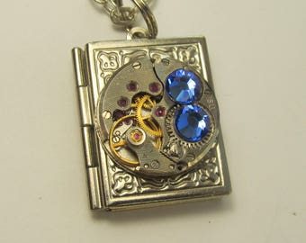 Steampunk Jewelry Book Locket Necklace vintage watch movement Blue Swarovski crystals Reader gift for women friend Gift for Her OOAK