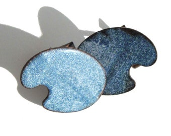 Vintage Modernist Cufflinks Blue Copper Enameled Palette Cuff Links