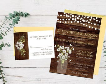 Rustic Daisies Invitation and RSVP Card