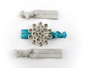 Large Star Burst Hair Tie Set - 3 Rhinestone and Elastic Hair Ties that Double as Bracelets