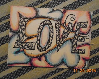 Original  Artist Trading Card Hand Drawn Pen and Colored Pencil Love Drawing