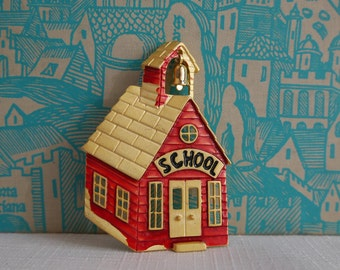 Red Schoolhouse Brooch, One Room School Pin by Tona, Hand Painted Red Enamel & Black on Gold, Teacher Gift