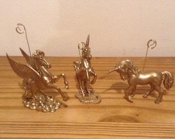 Unicorn Pegasus table number place card photo holders two unicorns and a Pegasus