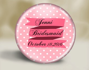 Personalized Pink Ribbon pocket mirror, Bridesmaid gift, Wedding favor, Shower gift, Bridal Party, Small gift, Thank you, Coworker