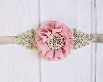 Bridesmaid Sash,  Bridal Sash,  Rustic Maternity Sash,Mauve Bridal Belt, Flower Girl Sash