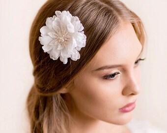 Wedding Flower Clip Scabiosa - Bridal Hair Clip Silk Flower - Floral Headpiece - Wedding Flower for Hair