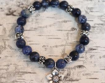 Gemstone Bracelet / Blue Bracelet / Sodalite Bracelet / Elastic Bracelet