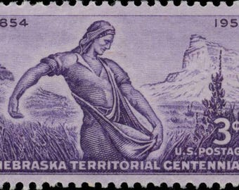 Ten (10) vintage unused postage stamps - Nebraska // 3 cent stamps // Face value 0.30