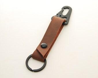 Tacticool Stoned Oil Leather HK Belt Clip Keychain Key Holder