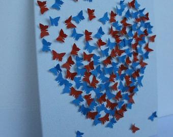 3D Butterfly Wall Art - Gators, UF, Orange and Blue