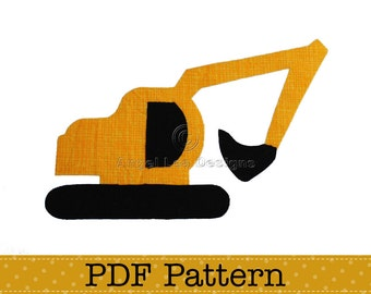 Excavator Applique Template, DIY, Children, PDF Pattern by Angel Lea Designs, Instant Download