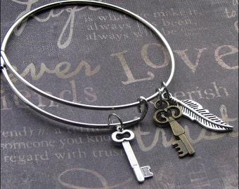 Key And Feathers Adjustable Bangle Bracelet, Mixed Metal Jewelry, Silver Bracelet, Key Charm Bracelet, Feather Jewelry, Birthday Gift NEW