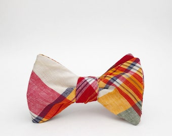 summer madras self tie bow tie // red, marigold, and navy self tie bow tie // totally rad preppy bow tie