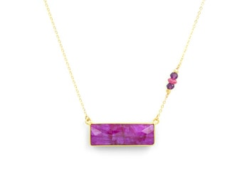Magenta Gemstone Rectangular Necklace, Simple gold necklace, Pendant Necklace, Unique Necklace, 14k Gold filled, Geometric Necklace