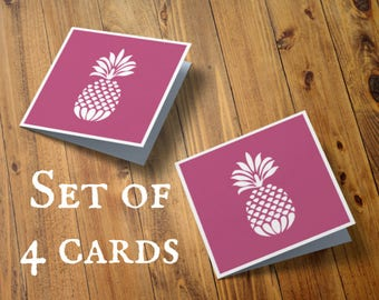 Pack of 4 papercut cards, Pineapple notecards, Set of four, Mini paper cut, Thank you note card, Small note card, Pineapple, Fruit card