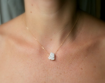 Tiny White Druzy Necklace in Sterling Silver or Gold