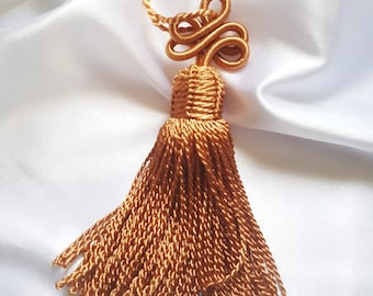 Pompom tassel Moroccan vegetable silk thread braided hazelnut Brown