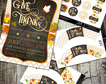 Modern Thanksgiving Invitation and Decor Set for Dinner or Get Together Gathering | Printable Party Package | Cupcake Toppers & Wrappers
