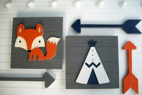 Adventure Nursery Set . Fox Sign . Teepee Sign . Wooden Arrow Set . Modern Nursery . Tribal Nursery . Big Boy Room . Woodland . Adventure