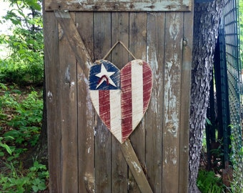 Patriotic, Americana, Primitive American Flag, American Flag, Summer Decor, 4th of July, Rustic Flag , Primitive Summer Decor, Heart Flag