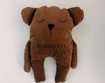 Modern handmade stuffed bear—brown velveteen—customizable