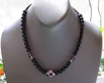 """PAY IT FORWARD Black Purple Necklace Bracelet Set Black Glass Beads Lavender Beads black dots 18 inch necklace 7 5/8"""" stretch bracelet 456NB"""