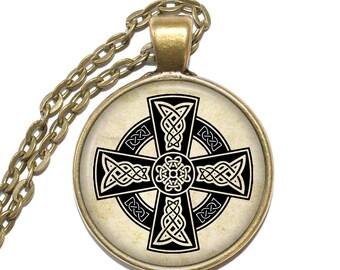 CELTIC CROSS Necklace, Early Middle Ages, Symbol, Faith, Irish, Scottish, Welsh, British, Art Pendant Necklace, Glass Pendant