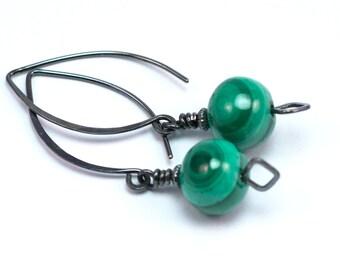 Malachite Earrings, Sterling Silver Earrings, Green Dangle Earrings, Green Drop Earrings, Long Drop Earrings, Handmade Earrings