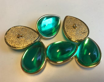 Gold stem buttons set of 6 pieces Baroque buttons/rhinestone buttons/green buttons/oval buttons