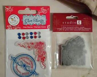 Christmas Stamp Lot NIB - Scrappy Cat & Studio G