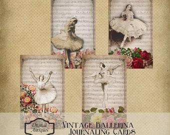 Alten Ballerina Journaling Karten sofort druckbaren digitale Download
