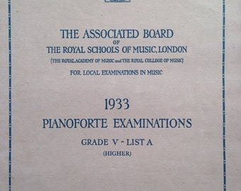 1933 Pianoforte Examinations Grade V Booklet - Associated Board of The Royal Schools of Music, official examination book for piano grade 5