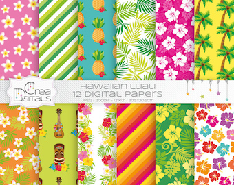 Hawaiian Luau - 12 digital paper pack - INSTANT DOWNLOAD