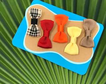 New Set for 2017 //  Fall Palette Modern Bow Gift Set // Bow Tie Hair Clips // Hand Sewn Grosgrain Bow Tie Hair Clips