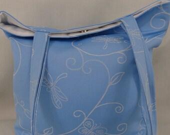 Blue Embroidered, Butterflies, Dragon Flies, Medium Tote, Small Diaper BAG, Shoulder Purse, Work Purse, Knitting BAG