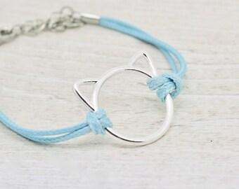Cat Bracelet, Kitty Bracelet, Pink Cat, Blue Cat, Black Cat, White Cat, Kitty Jewelry, Cat Jewellery, Feline Bracelet, Cat Lover Gift