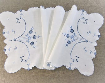 Antique Madeira Table Runner Hand Embroidered Dresser Scarf Portugal Embroidery Blue White Table Linens Vintage Linens