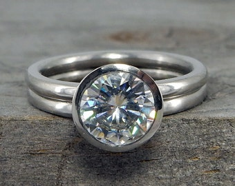 Forever One Moissanite Engagement Ring, Peekaboo Bezel Setting & Matching Wedding Band- Recycled 950 Palladium, Conflict Free, Made to Order